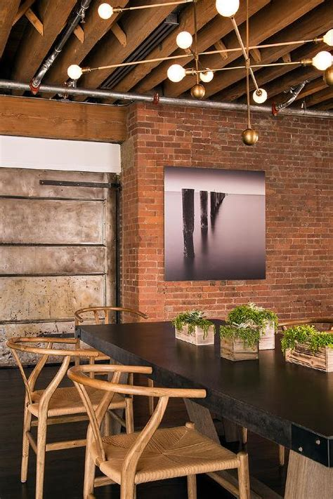 exposed brick wall lighting loft dining room with exposed brick walls modern