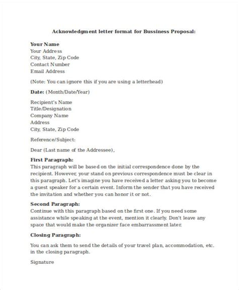 Acknowledgement Letter In Business 41 Acknowledgement Letter Exles Sles