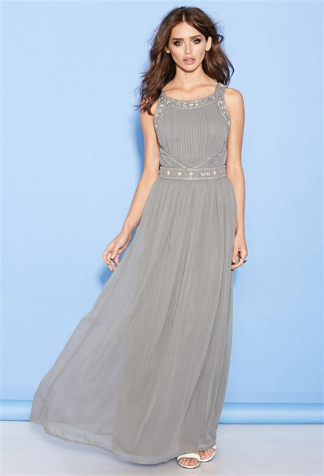 Maxi Channel Grey forever 21 beaded chiffon maxi dress in gray lyst