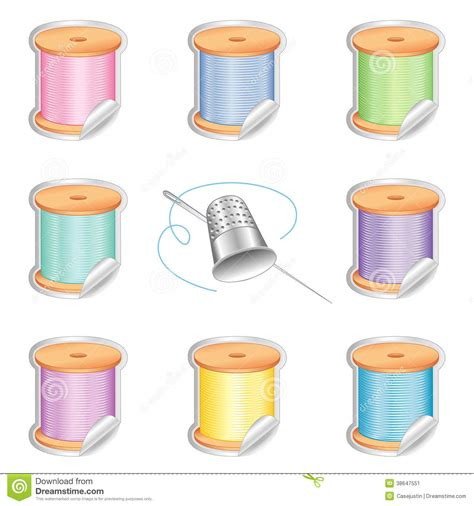 needle and pastel threads stickers silver thimble stock