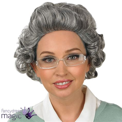 old grandma hairstyles curly grey curly gran granny old lady woman wig and glasses
