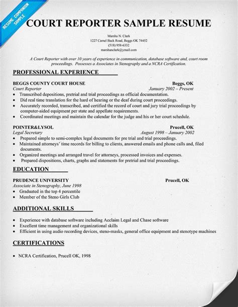 Reporter Resume by Court Reporter Resume Sle Court Reporting