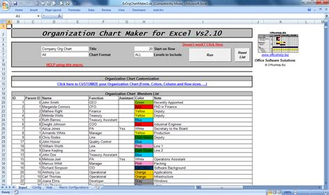 Excel Templates With Macros by Microsoft Excel 2010 Organizational Chart Template