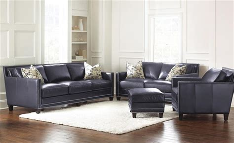 Hendrix Navy Blue Leather Sofa By Steve Silver Navy Blue Leather Sectional Sofa