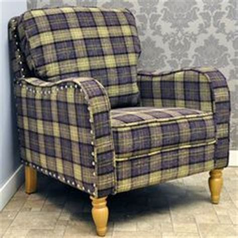 Purple Checked Armchair Green Tartan Check Button Back Wing Chair Sofas