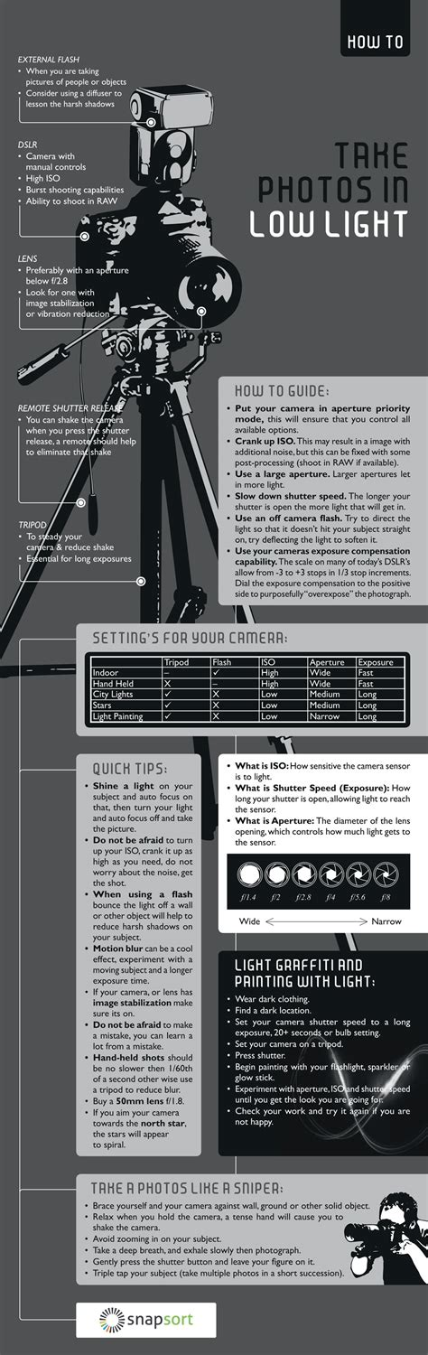 low light photography tips taking photos in low light by snapsort infographic canvaspop blog
