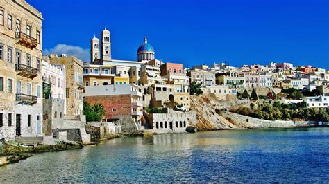 greece wallpaper for mac 2560x1440 syros island greece desktop pc and mac wallpaper