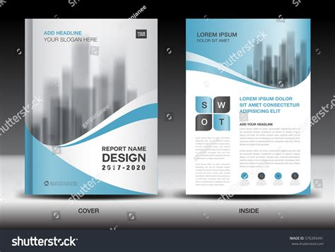 Annual Report Brochure Flyer Template Blue Stock Vector 576395491 Shutterstock Ads Report Template