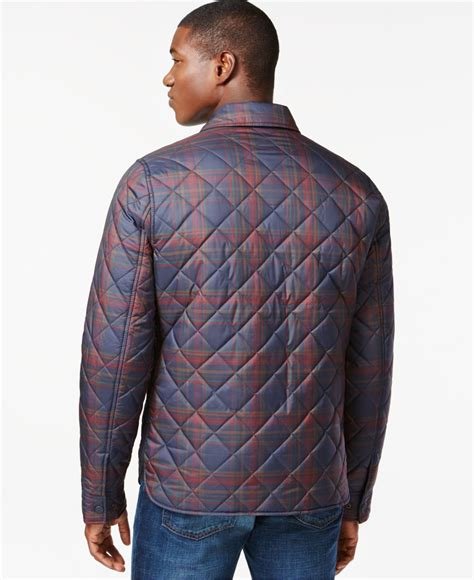 hilfiger lockheed quilted plaid jacket in blue for