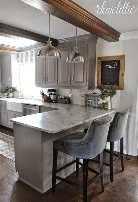 open kitchen bar counter and two bar stool design the finishing touches on our kitchen makeover before and