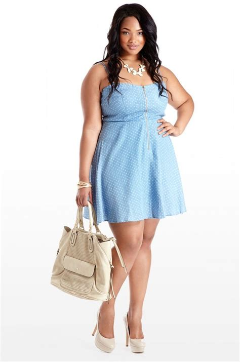 Marshel Denim Dress B by Plussizeebony Marshall In Count To Denim Dot Tank