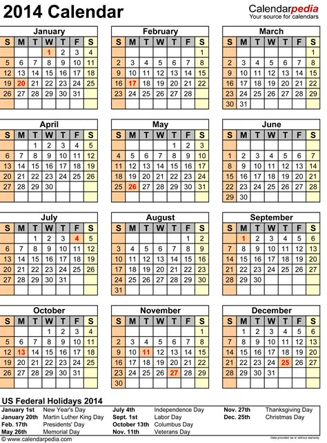 calendar 2014 templates 2014 calendar with federal holidays excel pdf word templates