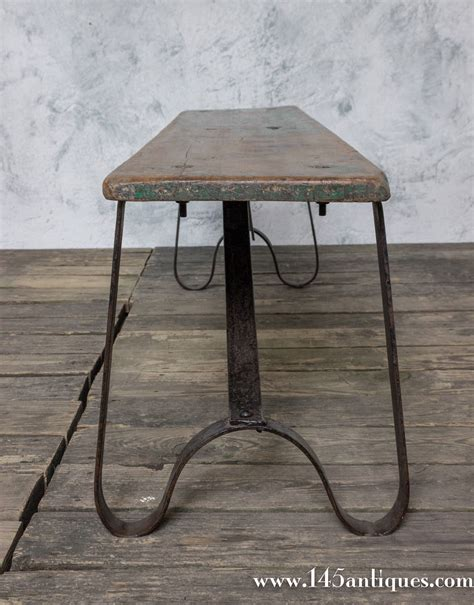 small iron bench small iron and wood bench for sale at 1stdibs