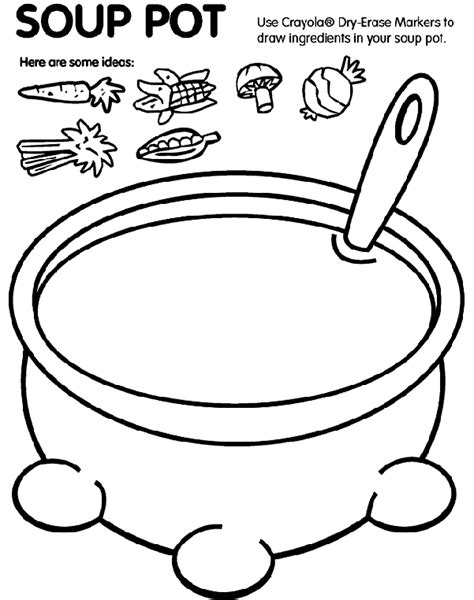 soup template soup pot coloring page crayola
