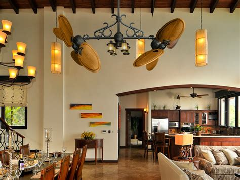ceiling fans for dining rooms double ceiling fans rustic dining room miami by