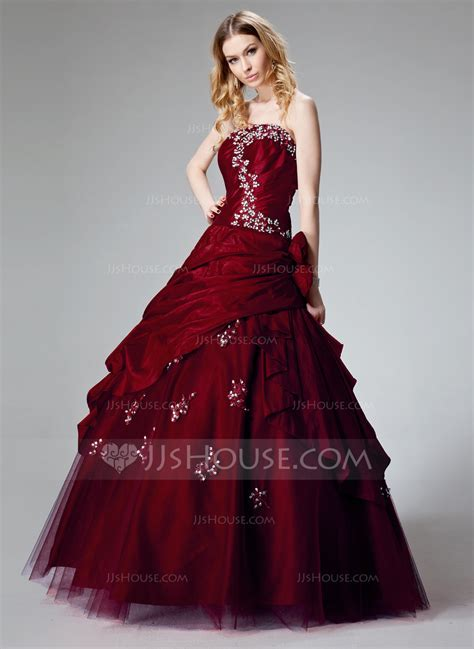 Ball Gown Strapless Floor Length Taffeta Quinceanera Dress