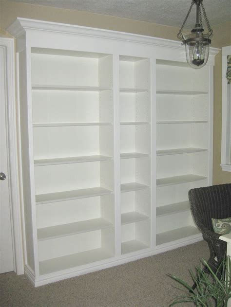 prefabricated bookcases look like built ins diy built ins with bookshelves and mold trimming at top
