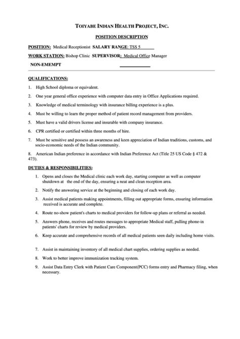 Medical Receptionist Job Description Printable Pdf Download One Page Description Template