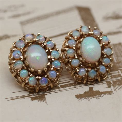 circa 1930s 1950s 14k opal earrings pippin vintage jewelry