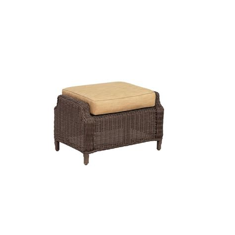 All Weather Wicker Pouf Patio Ottoman FQS70339C   The Home