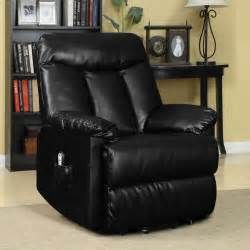 electric lift chair recliner black leather power motion
