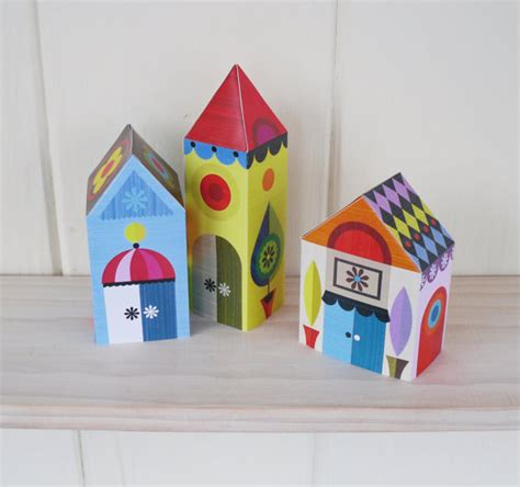 Craft Paper House - items similar to 3 houses paper craft kit on etsy