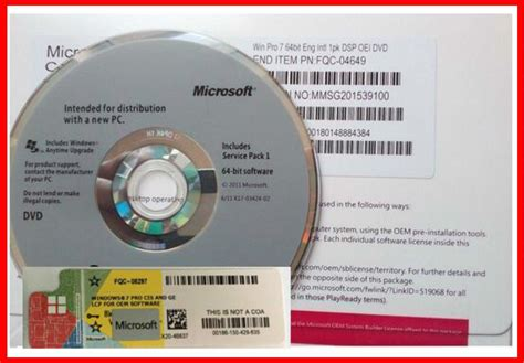 Sale Software Windows 7 Sp1 64bit Oem microsoft windows 7 professional sp1 oem pack 32 64 bit