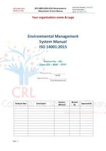 environmental management program template iso 14001 2015 managment system manual sle