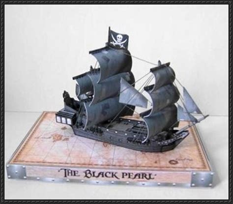 Paper Craft Square - of the caribbean black pearl waterline pirate
