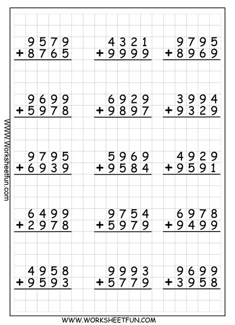 Subtraction With Borrowing Worksheets by 4 Digit Addition With Regrouping Carrying 9 Worksheets