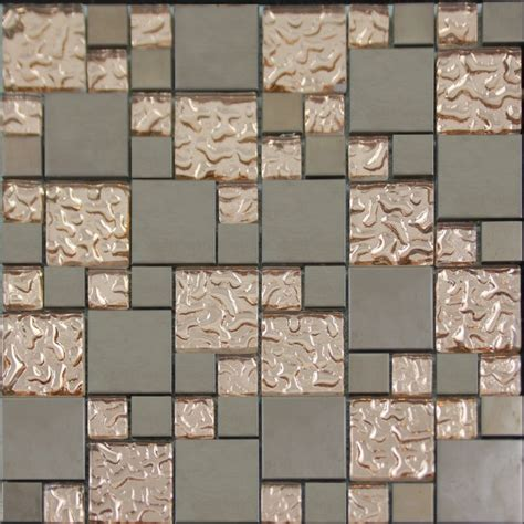 Copper Glass And Porcelain Square Mosaic Tile Designs Kitchen Tiles Designs Wall