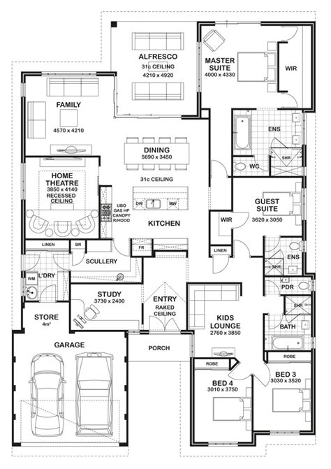 floor plans for a 4 bedroom 2 bath house floor plan friday 4 bedroom 3 bathroom home floor plans pinterest bedrooms