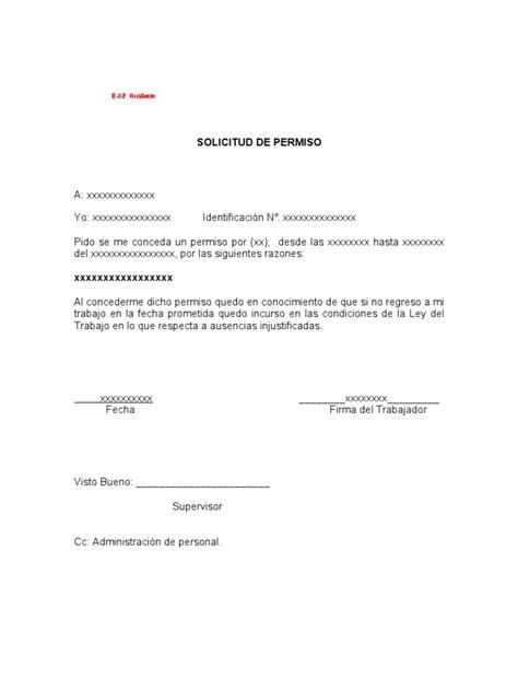 modelo de solicitud simple de permiso formato solicitud de permiso de trabajo