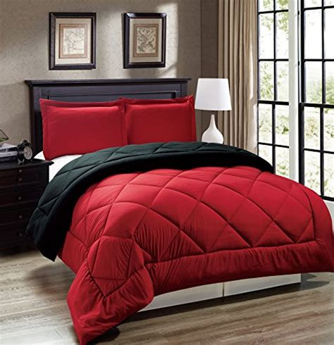 King Size Bedding Black And Red Legacy Decor 3pc Down Alternative Reversible Comforter