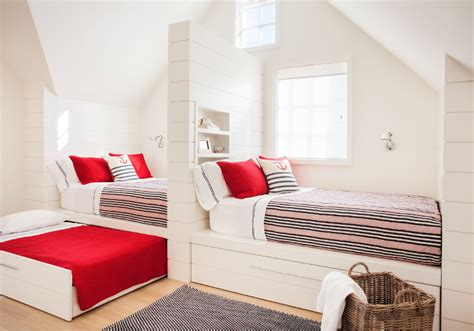 built in bed sleepover room with built in twin beds with trundle beds