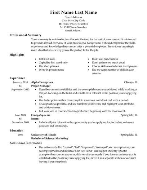 Free Formats For Resumes by My Resume Templates