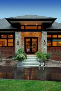 Small Prairie Style House Plans by Prairie Style Home Contemporary Entry Detroit By