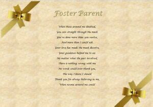 FOSTER PARENT   Personalised Poem (Laminated Gift)   eBay
