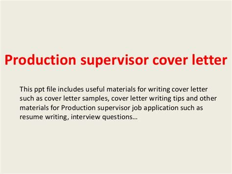 Production Trainer Cover Letter by Production Supervisor Cover Letter