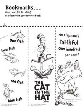 printable preschool bookmarks dr seuss day craft bookmarks preschool parties
