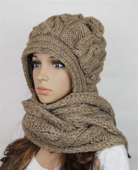 Handmade Knitted Hats - handmade knitted crochet hooded scarf hat clothing