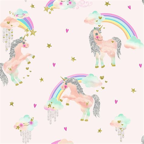 Arthouse rainbow amp fairytale unicorn glitter wallpaper white pink lilac blue ebay