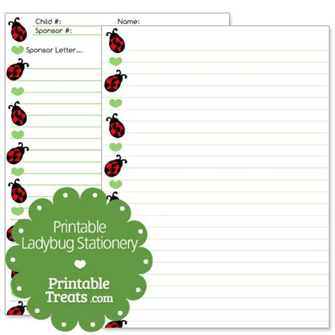 printable ladybug stationery printable ladybug stationery printable treats com
