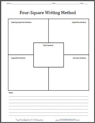 four square writing method free printable template worksheet