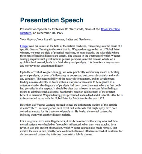 template for best speech sle presentation speech exle template 7 free