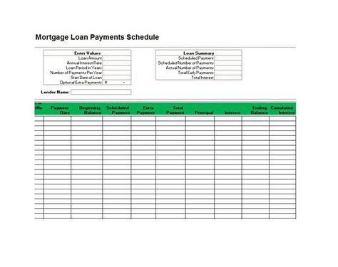 excel mortgage template loan amortization schedule excel template