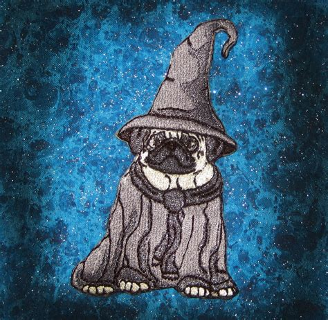 pug wizard epic gandaulf the grey wizard fawn pug crest heraldic heraldry iron on patch