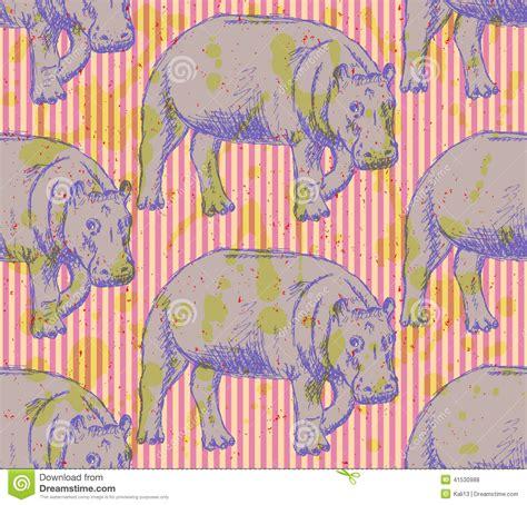 vintage pattern sketch sketch hippo vector vintage seamless pattern stock vector