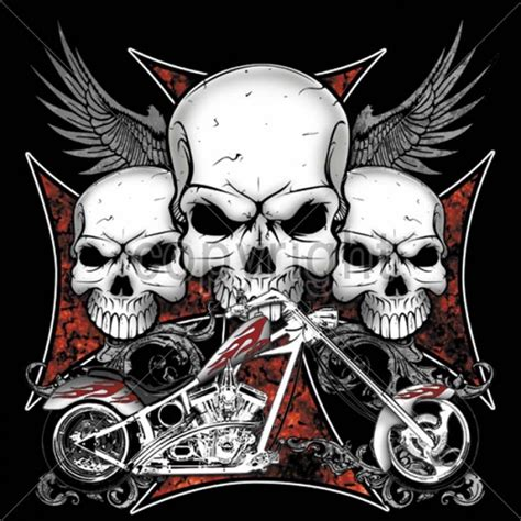 chopper tattoo designs 3 skulls chopper