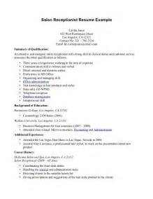 Resume Exles For Spa Receptionist Resume For Receptionist Format Of Apology Letter